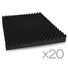 Set of 20 Self Adhesive Studio Eggshell Acoustic Foam Black 50 x 50cm