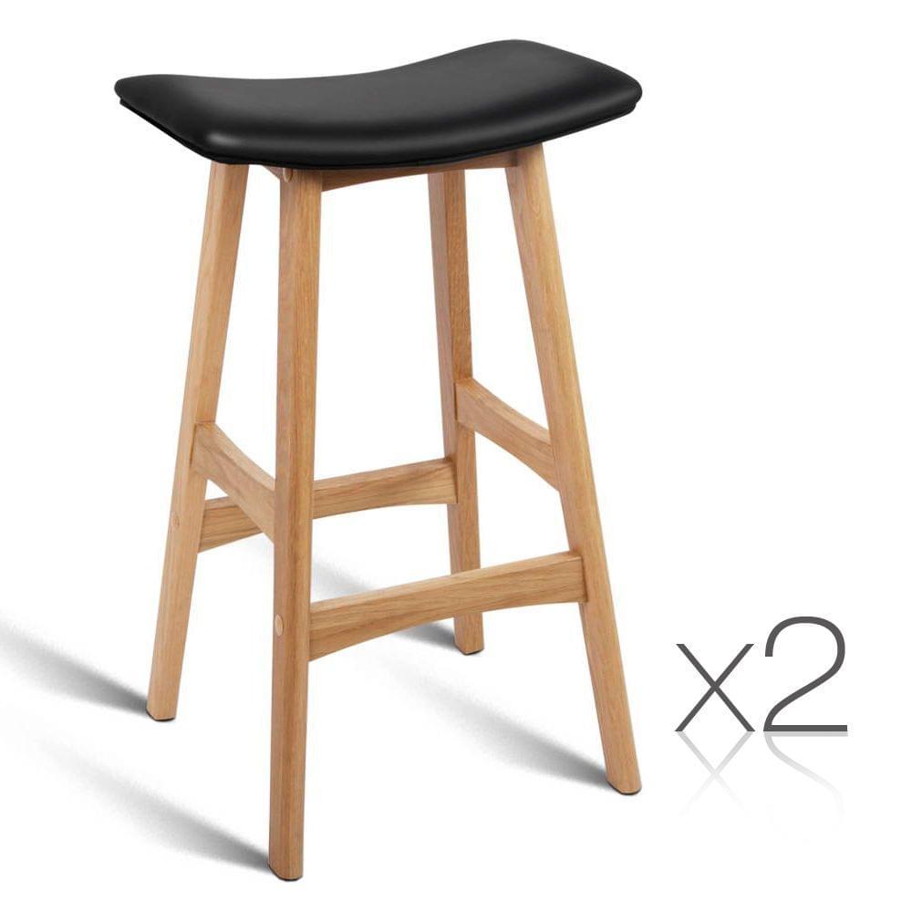 Set of 2 High Seat Barstools Black