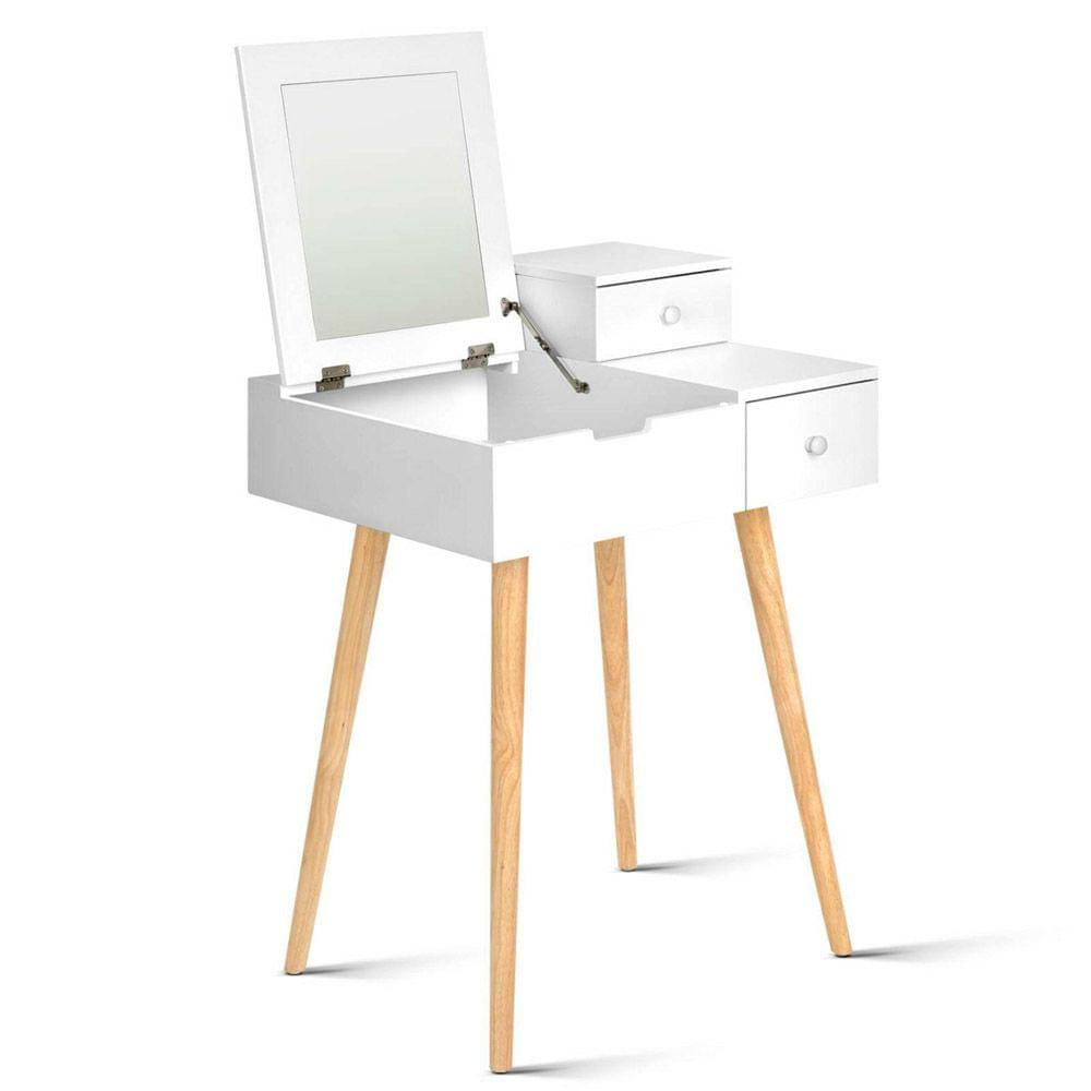 Dressing Table with Foldaway Mirror- White