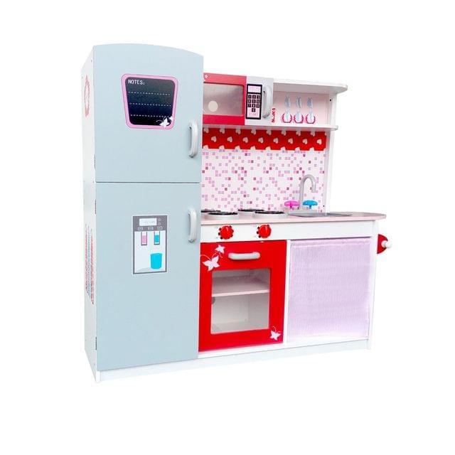 Children Wooden Kitchen Play Set w/ Fridge Pink