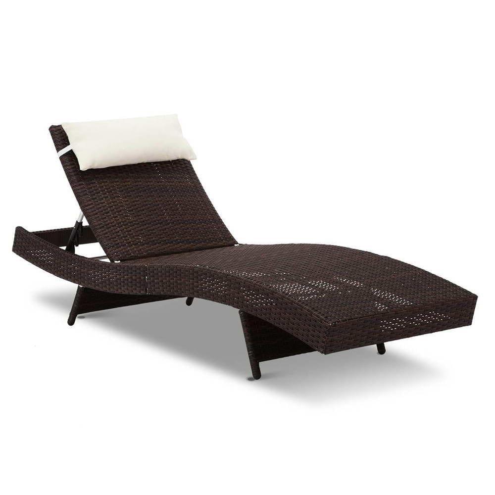 Wicker Outdoor Sun Lounger - Brown