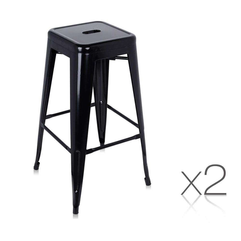 Set of 2 Steel Kitchen Bar Stools 76cm Black