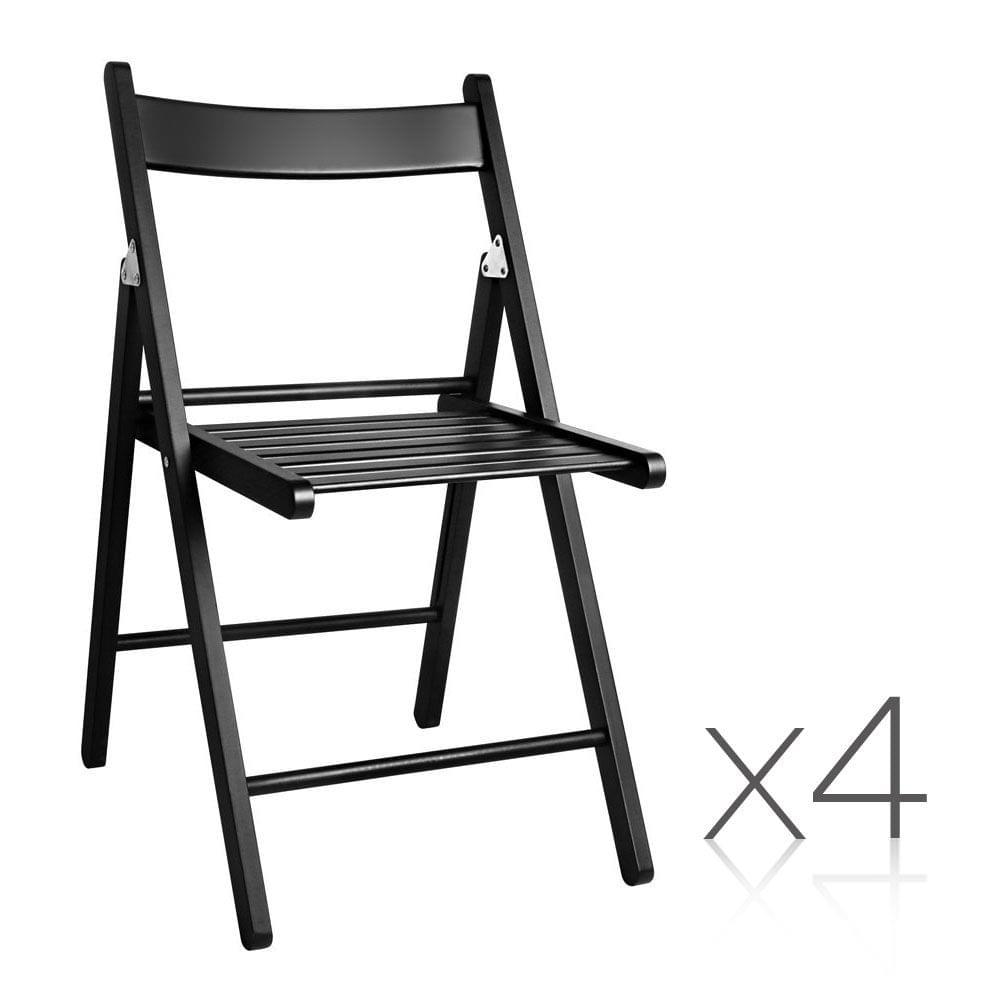 Set of 4 Delia Wooden Chair Black