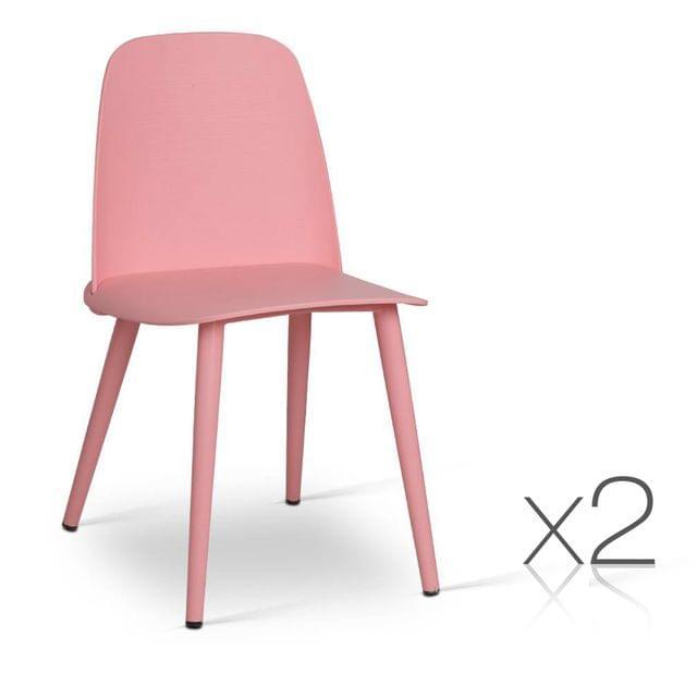 Set of 2 Nerd Replica Dining Chair Pink