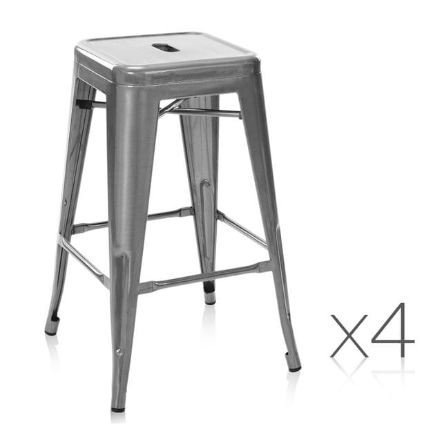 Set of 4 Steel Kitchen Bar Stools 66cm - Gloss Finish