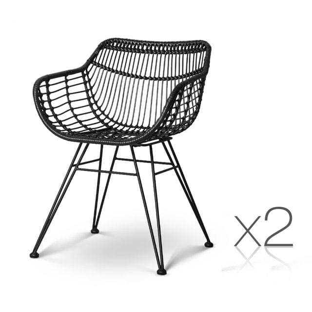 Set of 2 Rattan Dining Chair Black