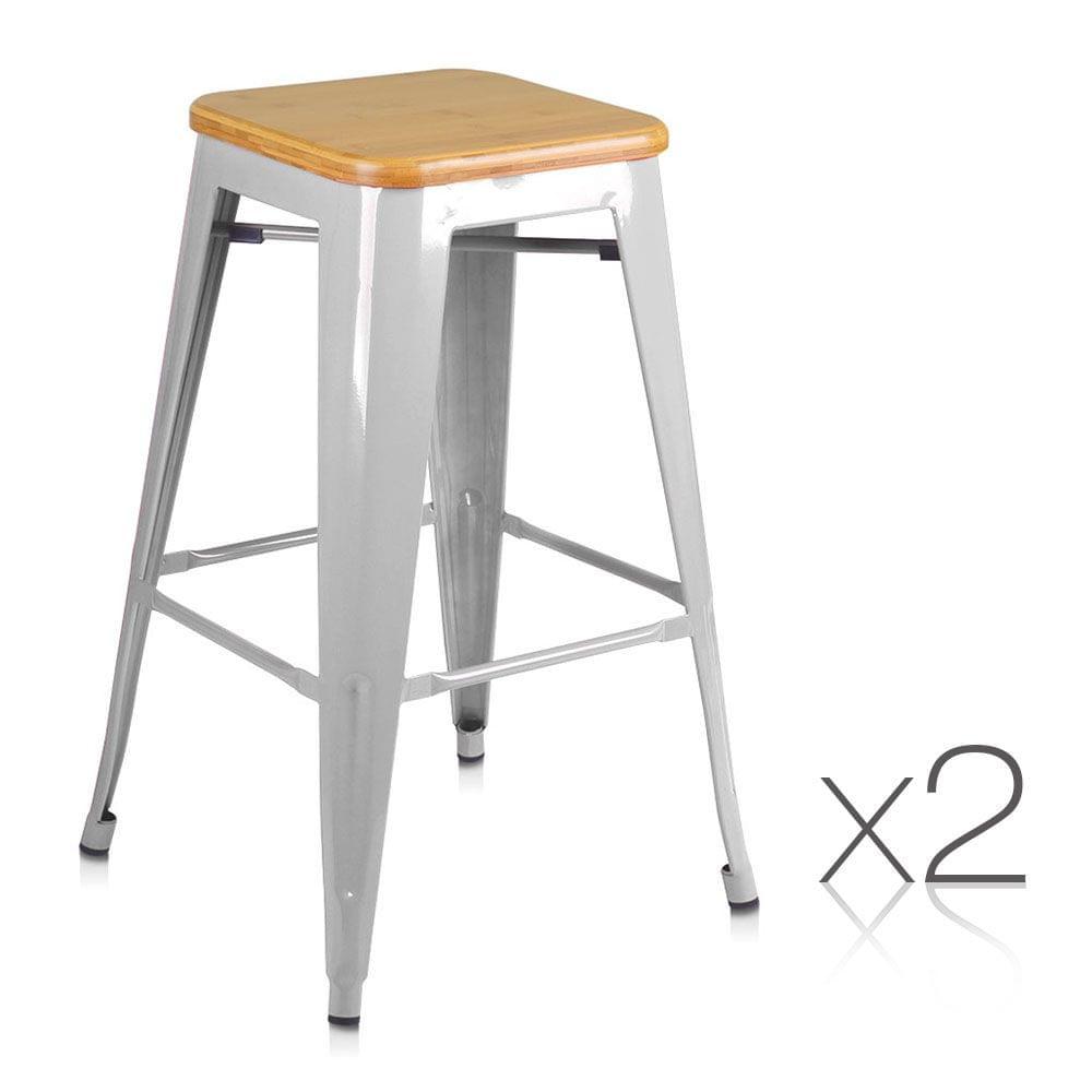 Set of 2 Steel Kitchen Bar Stools Bamboo Seat  66cm - Metal