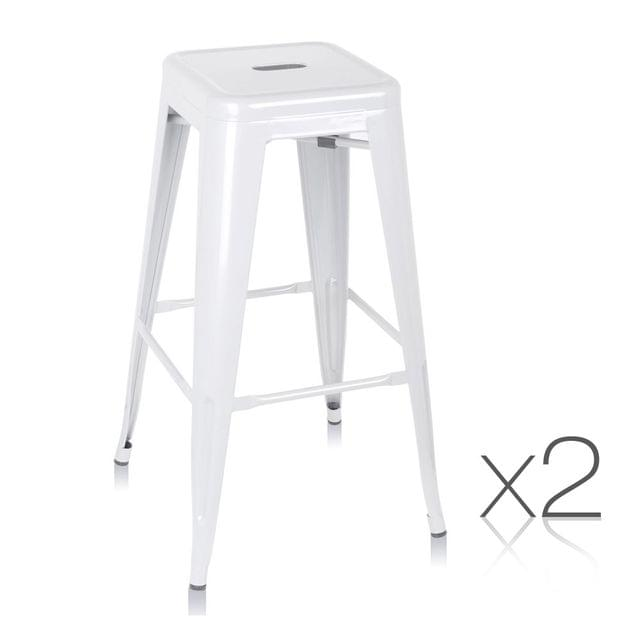 Set of 2 Steel Kitchen Bar Stools 76cm - White