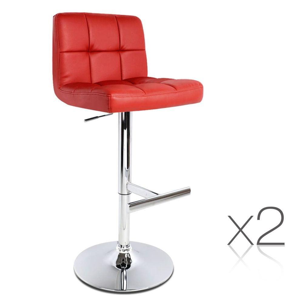 Set of 2 PU Leather Kitchen Bar Stools - Burgundy