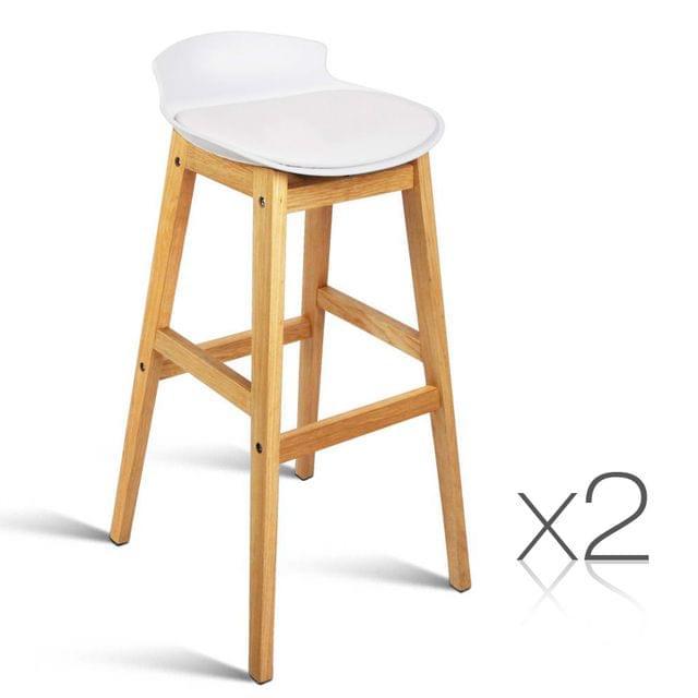 Set of 2 High Seat Back Bar Stools White