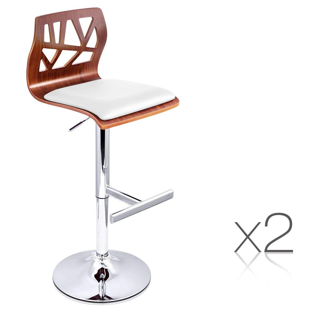 Set of 2 PU Leather Wooden Kitchen Bar Stool Padded Seat White