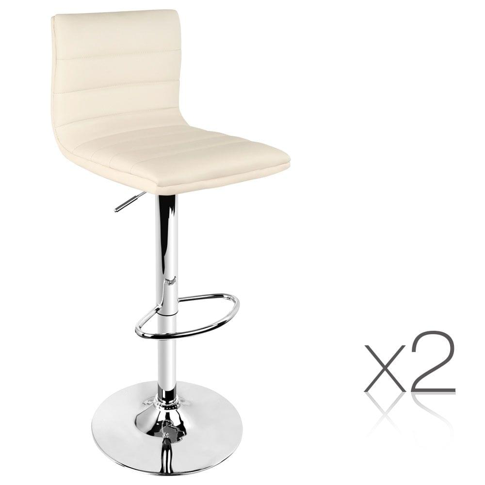 Set of 2 PU Leather Kitchen Bar Stools - Beige