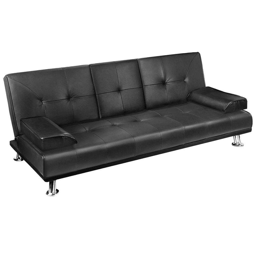 Modern PU leather 3 Seater Sofa Bed w/ Cup Holders