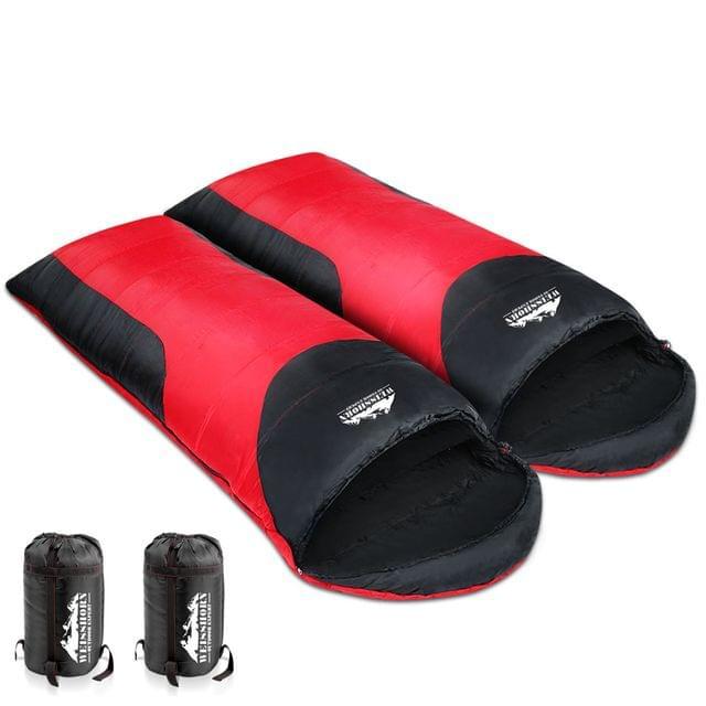 Set of 2 Camping Sleeping Bag Red Black