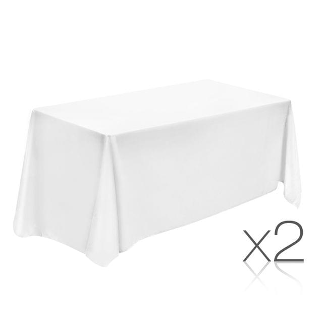 Set of 2 Table Cloths - White 152 x 259