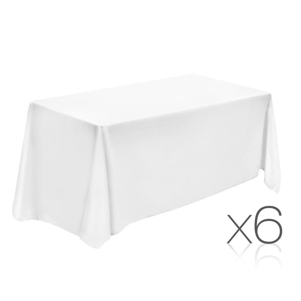 Set of 6 Table Cloths - White 152 x 259