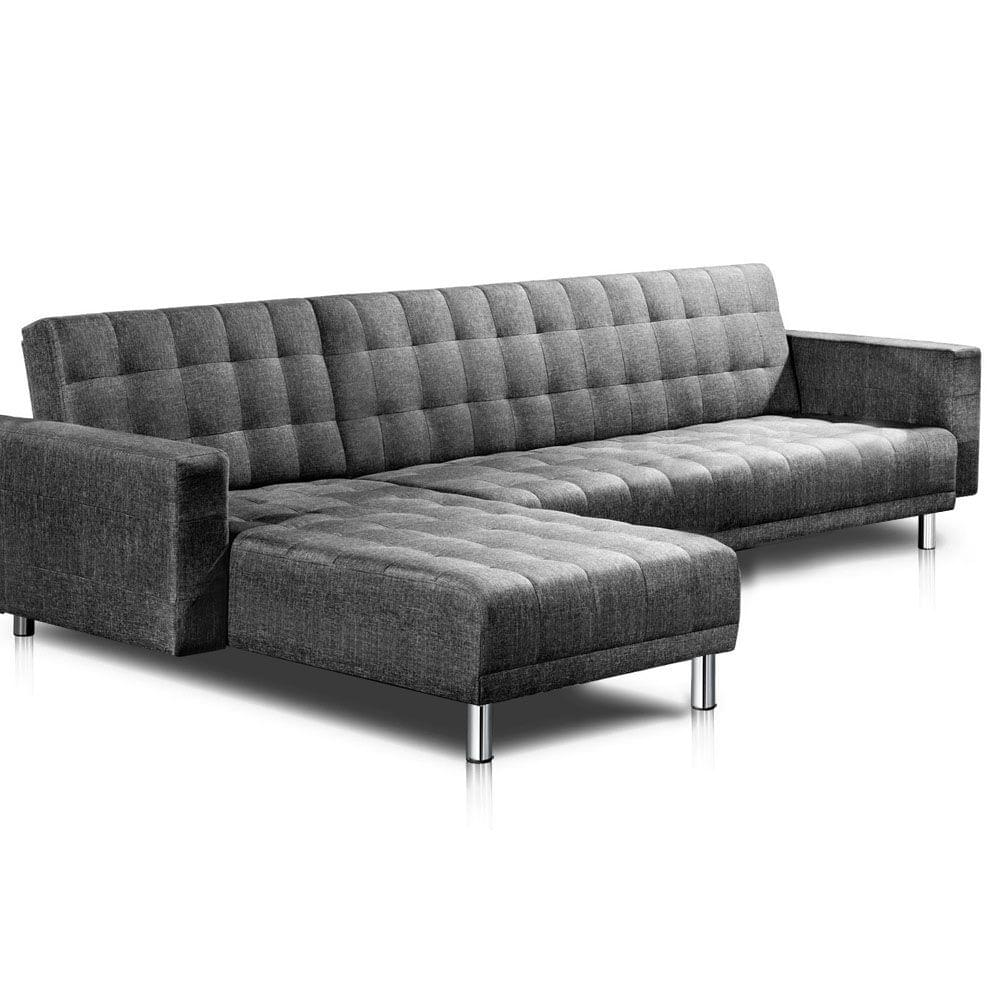 Faux Linen Sofa Bed 5 Seater