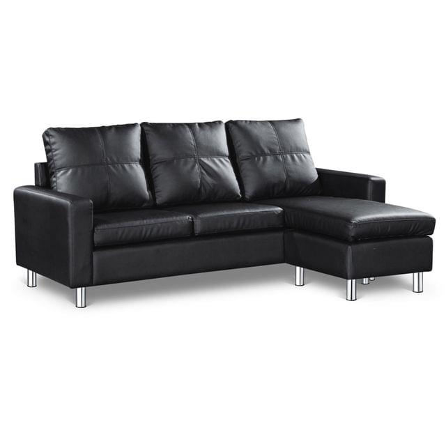 Four Seater Faux Leather Sofa with Ottoman Black