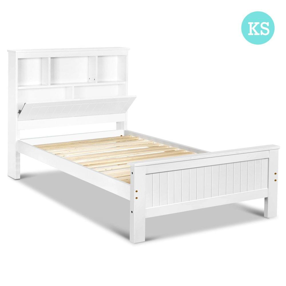 King Single Wooden Bedframe with Storage Shelf
