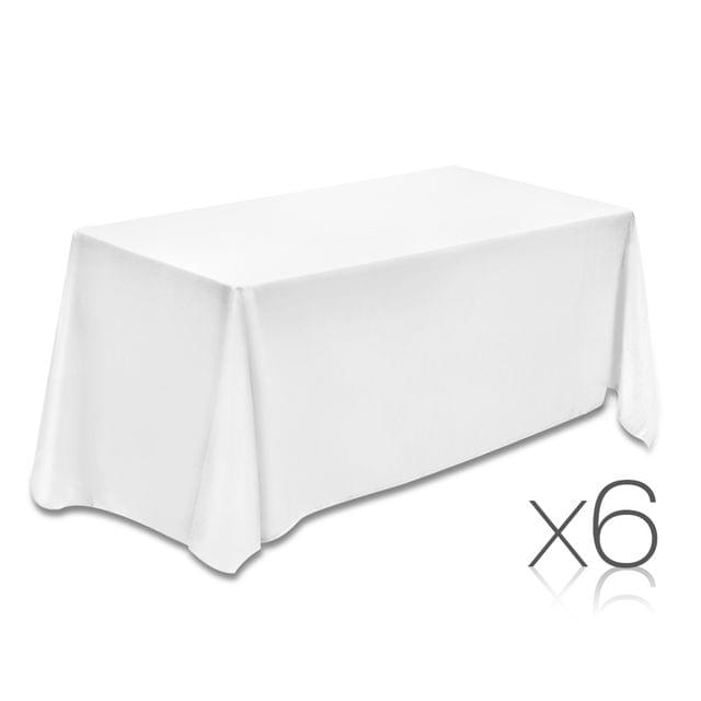Set of 6 Table Cloths - White 153 x 320