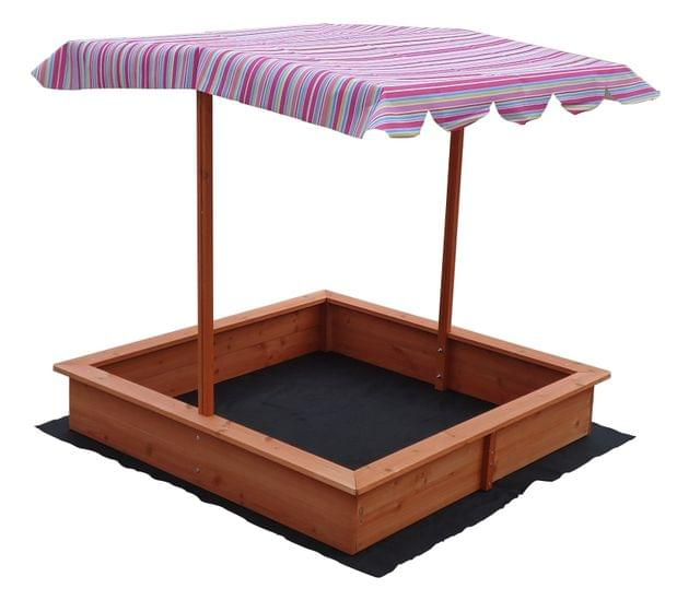 Kids Wooden Toy Sandpit with Adjustable Canopy