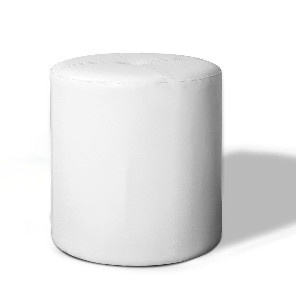 PVC Leather Round Ottoman White