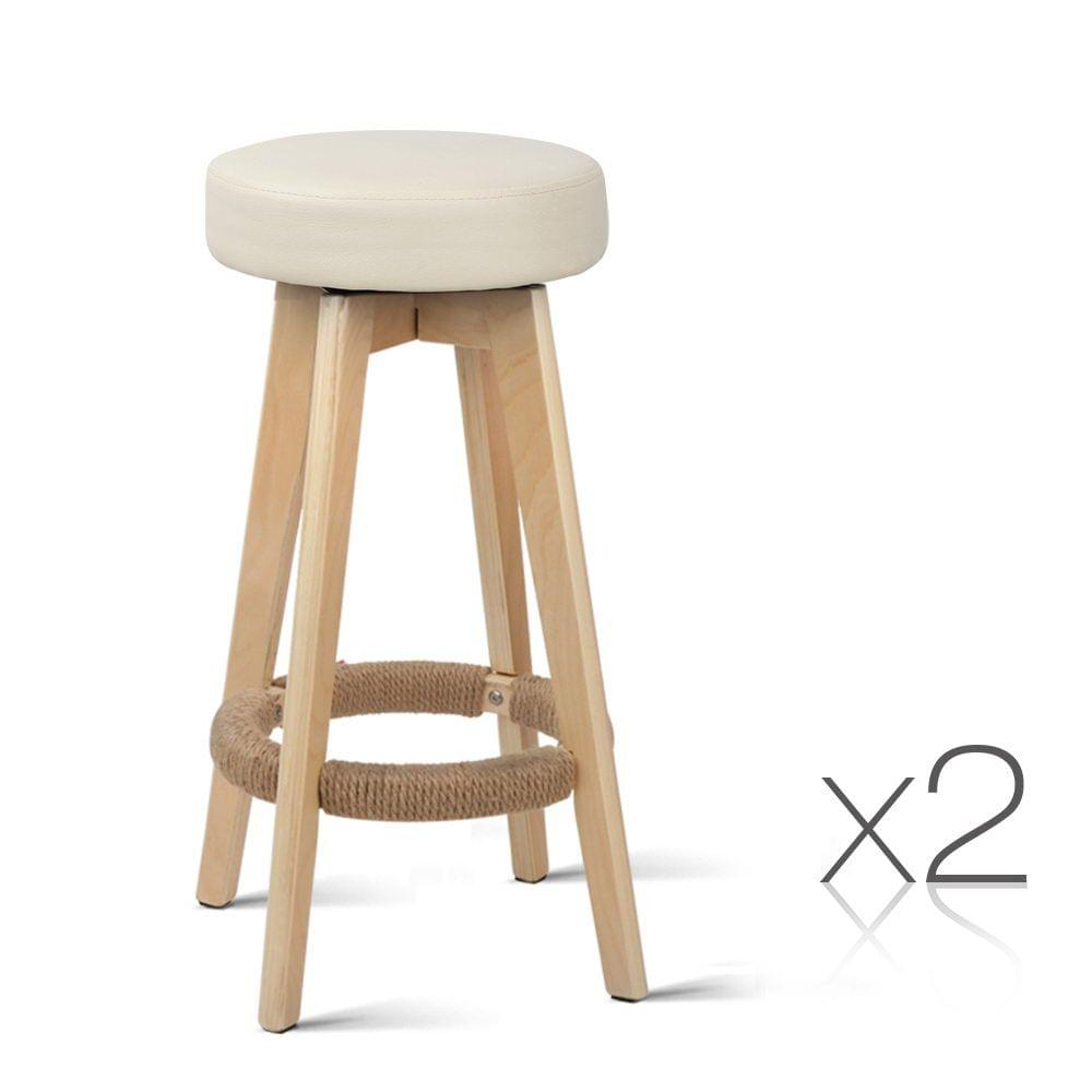 Set of 2 PU Leather Bar Stools with Wood Base Beige