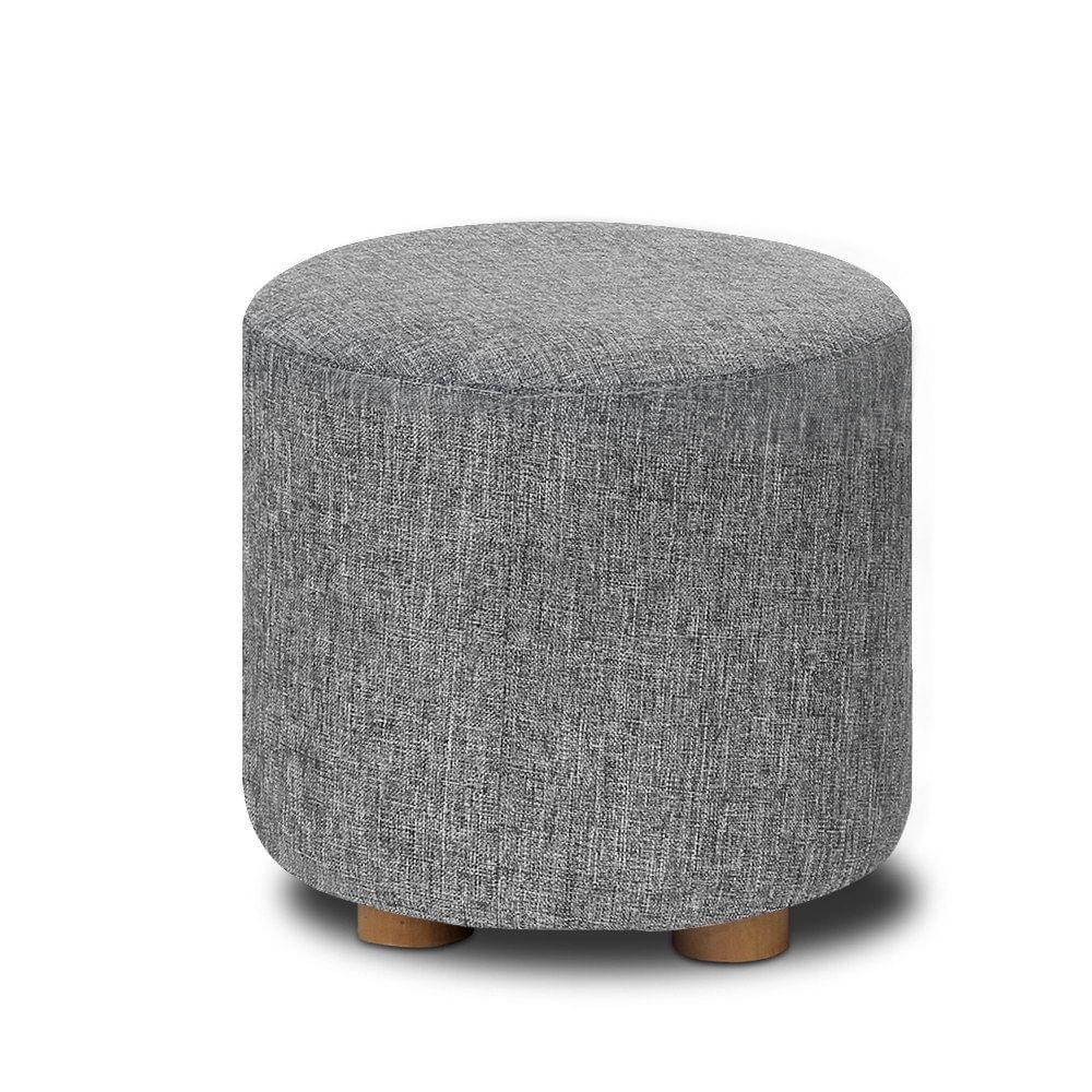 Fabric Round Ottoman Grey