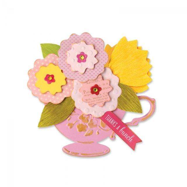 Sizzix Bigz Die w/Bonus Embossing - Tea Cup Bouquet - 660698