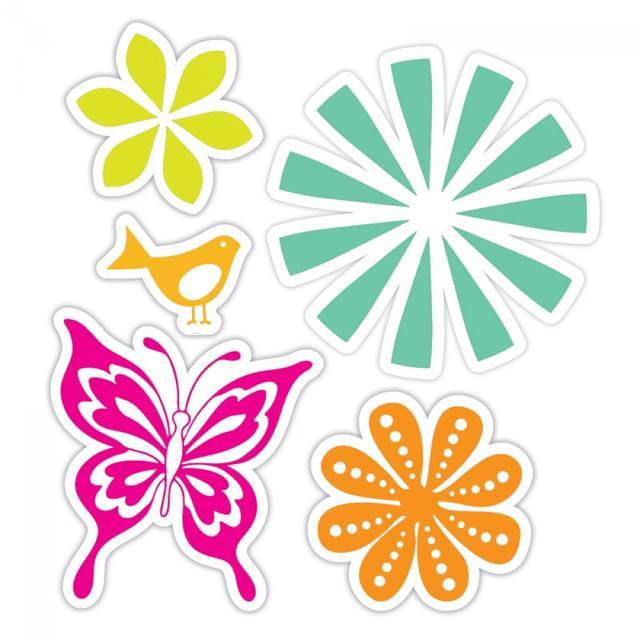 Sizzix Framelits Die Set 5PK w/Stamps - Bold Pop Designs Set -657851