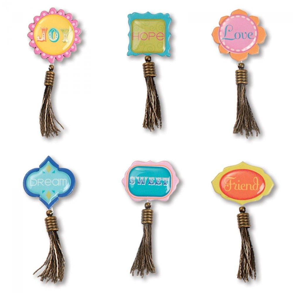 Sizzix Embellishments - Moroccan Mini Tassel Sentiments, 6 Pack - 658596
