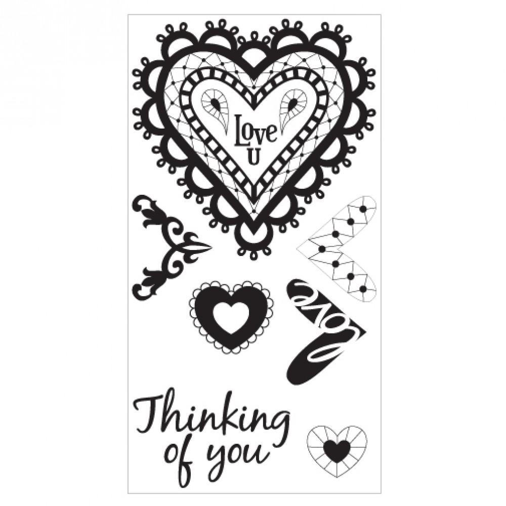 Sizzix Interchangeable Clear Stamps - Doodle Hearts - 660640