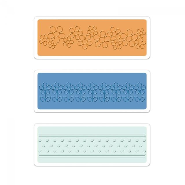Sizzix Textured Impressions Embossing Folders 3PK - Flowers & Dots Set -  660393