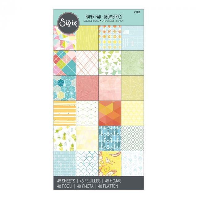 """Sizzix Paper - 6"""" x 12"""" Cardstock Pad, Geometrics, 48 Sheets - 651158"""