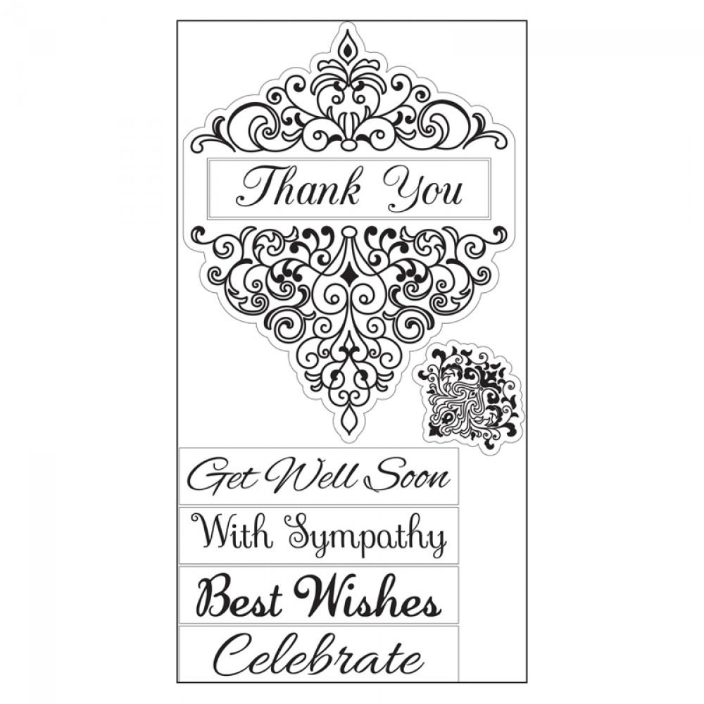 Sizzix Interchangeable Clear Stamps - Damask Greetings - 660560