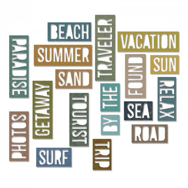 Sizzix Thinlits Die Set 18PK - Vacation Words: Block-661287