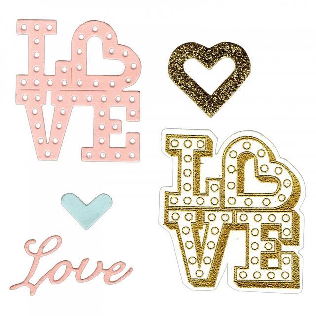 Sizzix Framelits Die Set 4PK w/Stamps - Love in Lights- 661858
