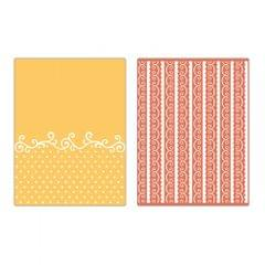 Sizzix Textured Impressions Embossing Folders 2PK - Flourish, Dots & Ribbon Set - 656980