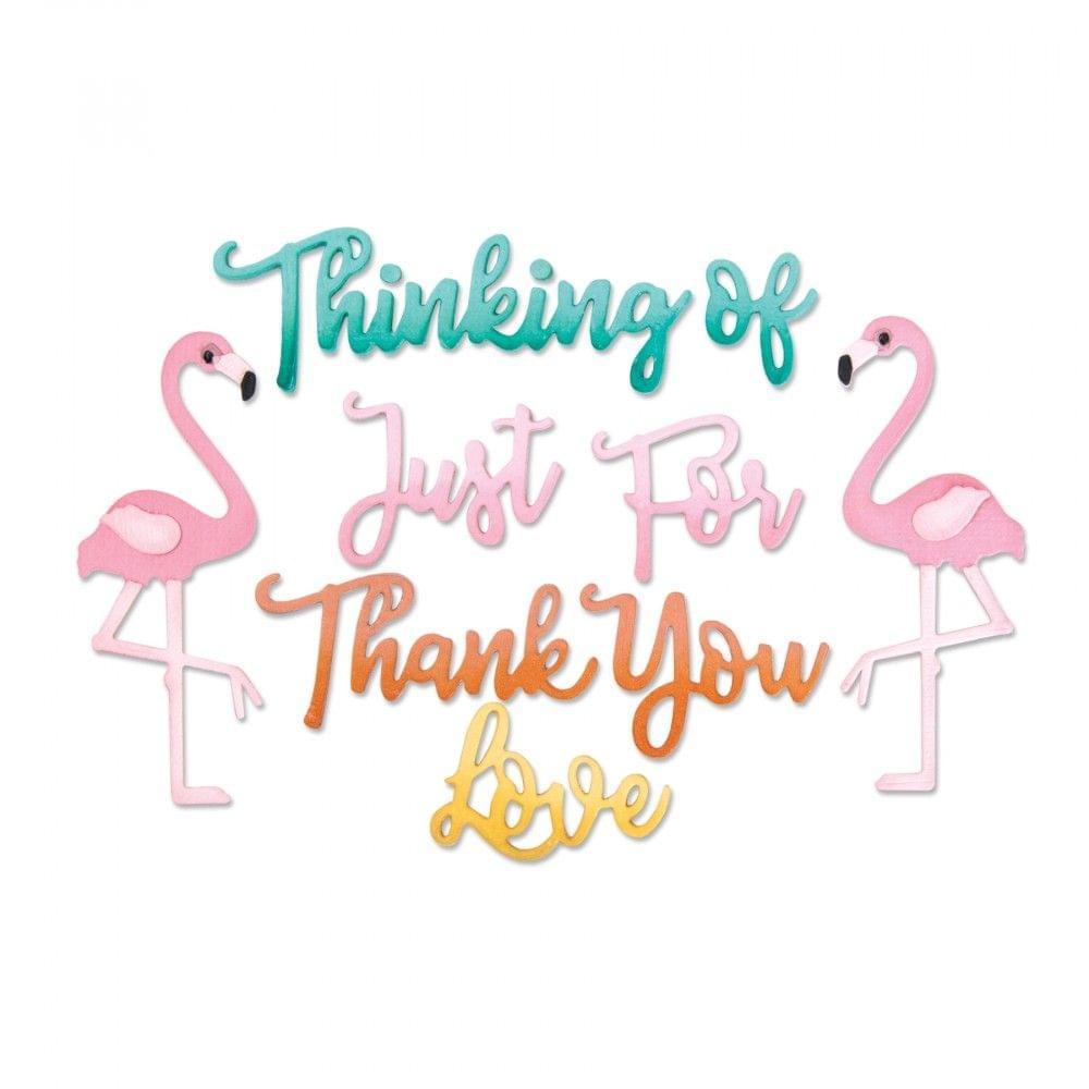 Sizzix Thinlits Die Set 11PK - Phrases, Thank You & Flamingo - 662724