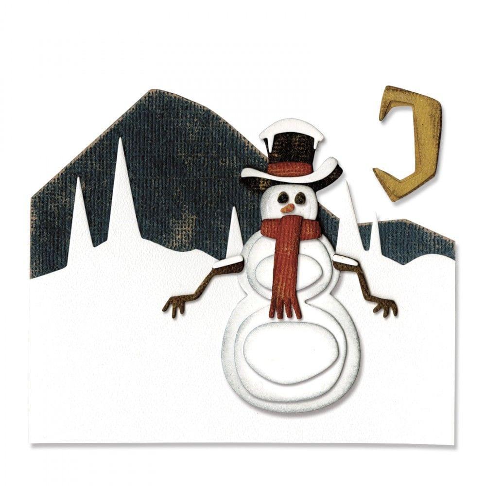 Sizzix Thinlits Die Set 10PK - Snowman Scene - 662422