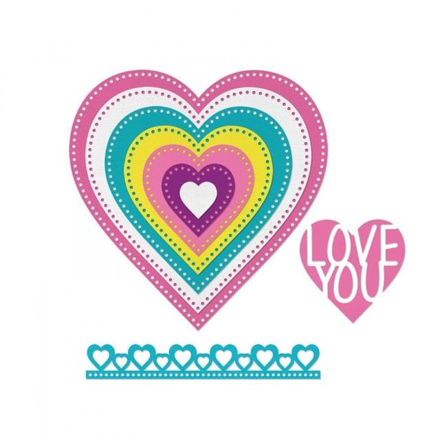 Sizzix Framelits Die Set 9PK - Hearts, Dotted - 662730