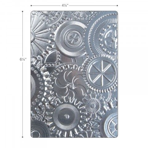 Sizzix 3-D Texture Fades Embossing Folder - Mechanics Item - 662715