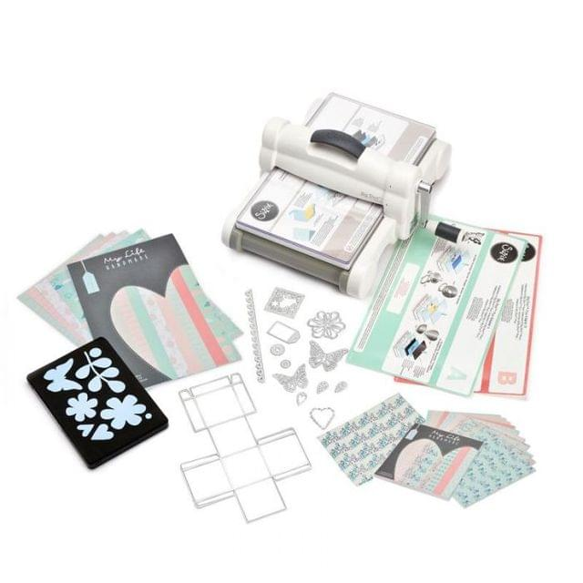 Sizzix Big Shot Plus Starter Kit (White & Gray) with My Life Handmade Cardstock & Fabric- 661546