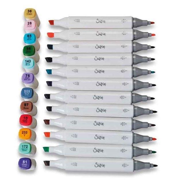 Sizzix Accessory – Permanent Pens, 12PK (Assorted Colours)- 663056