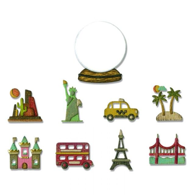 Sizzix Thinlits Die Set 10PK - Tiny Travel Globe Item: 664182