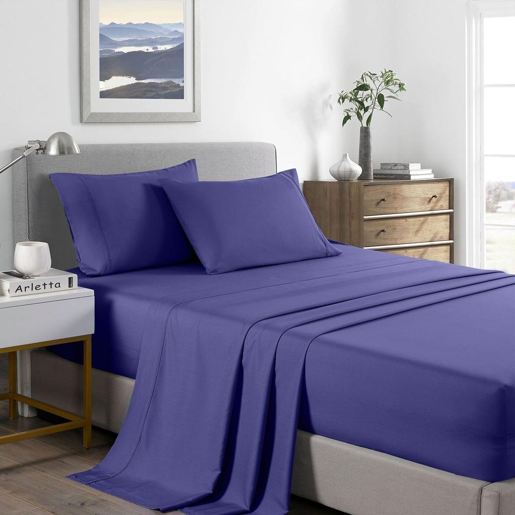 (SINGLE) Royal Comfort 2000 Thread Count Bamboo Cooling Sheet Set Ultra Soft Bedding - Royal Blue