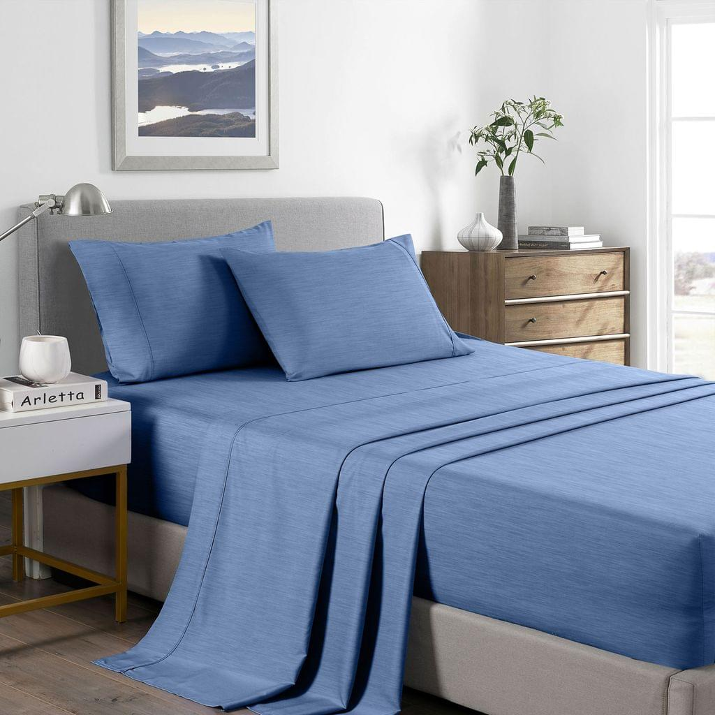 (KING) Royal Comfort 2000 Thread Count Bamboo Cooling Sheet Set Ultra Soft Bedding - Denim