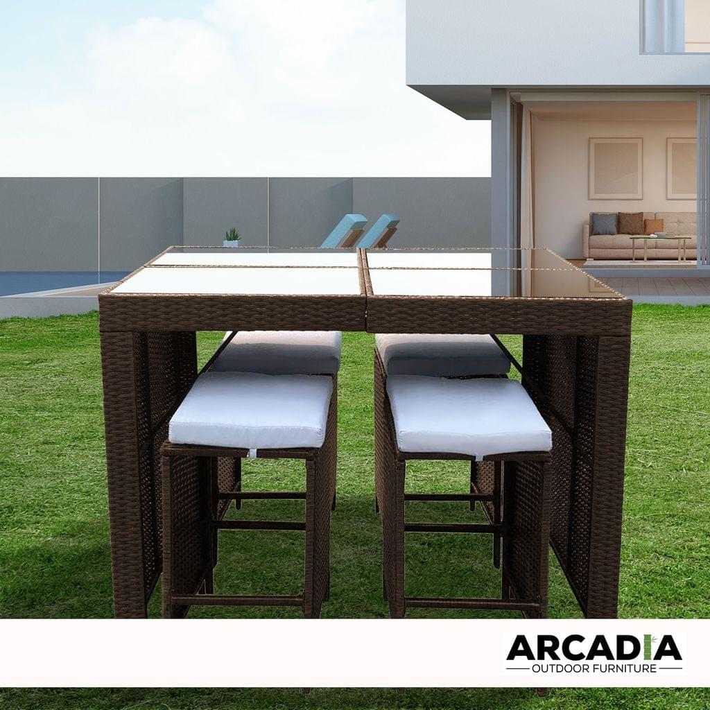 Arcadia Furniture Outdoor 5 Piece Bar Table Set Rattan and Cushions Patio Dining - Oatmeal and Grey