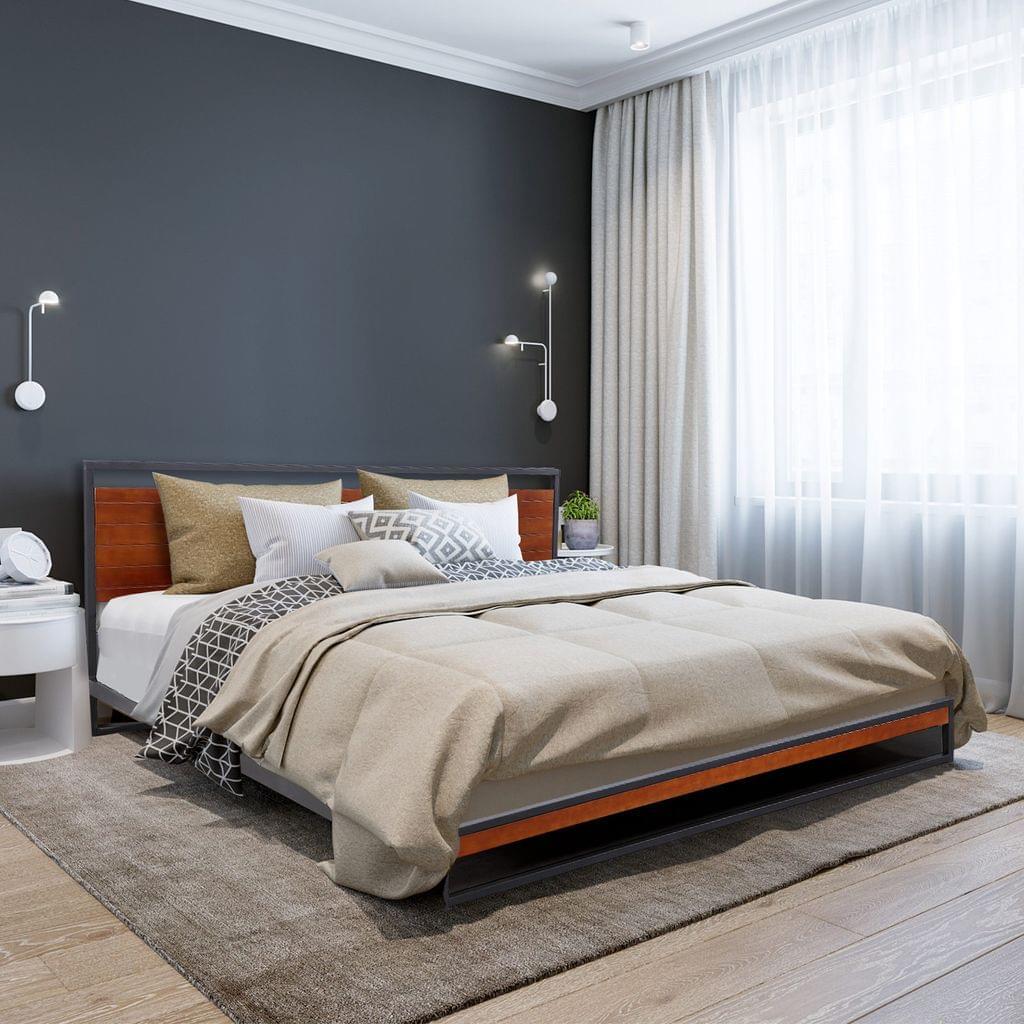 (KING) Milano Decor Azure Bed Frame With Headboard Black Wood Steel Platform Bed - Black