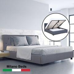 (KING SINGLE) Milano Capri Luxury Gas Lift Bed Frame Base And Headboard With Storage All Sizes - Grey